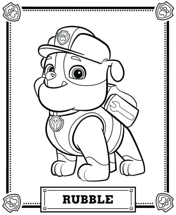 599x730 Free Paw Patrol Coloring Pages With Paw Patrol Rubble Coloring