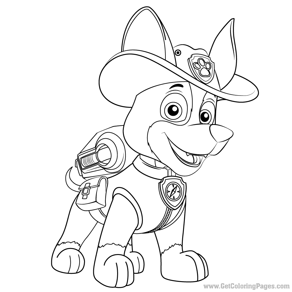 1024x1024 Paw Patrol Tracker Coloring Pages