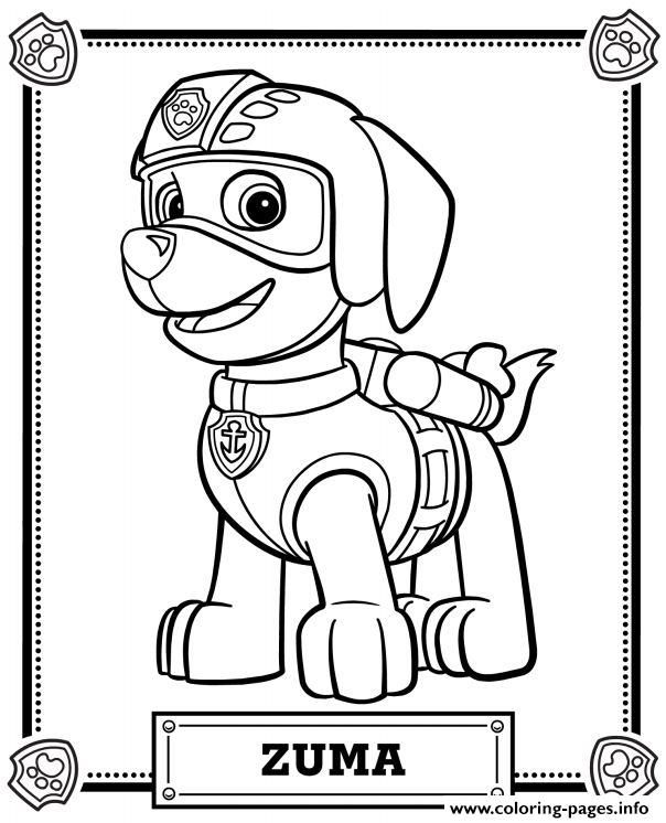 604x746 Print Paw Patrol Zuma Coloring Pages