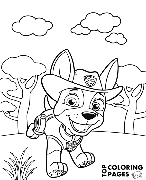 600x740 Free Printable Coloring Page With Tracker From Paw Patrol