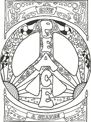 300x401 Peace Sign Coloring Pages Printable