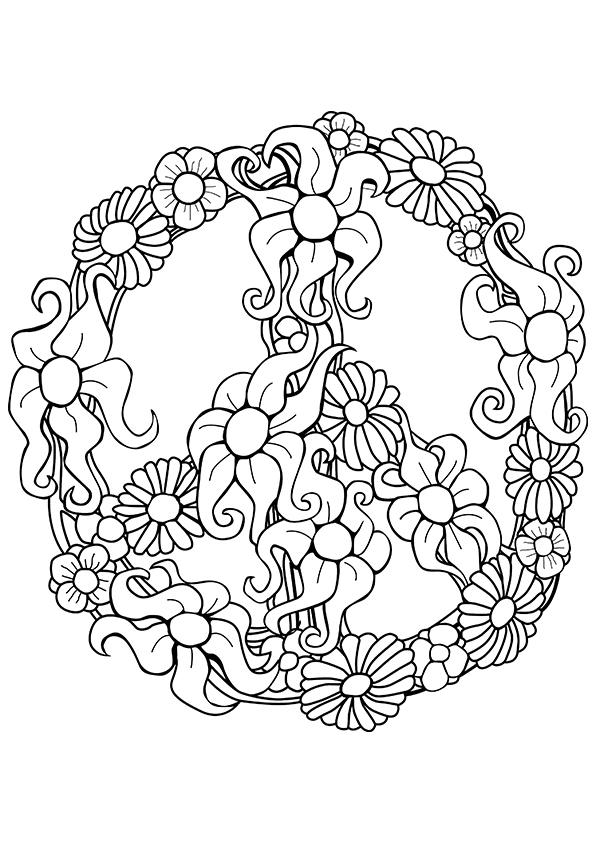 595x842 Peace Sign Coloring Pages For Adults Printable