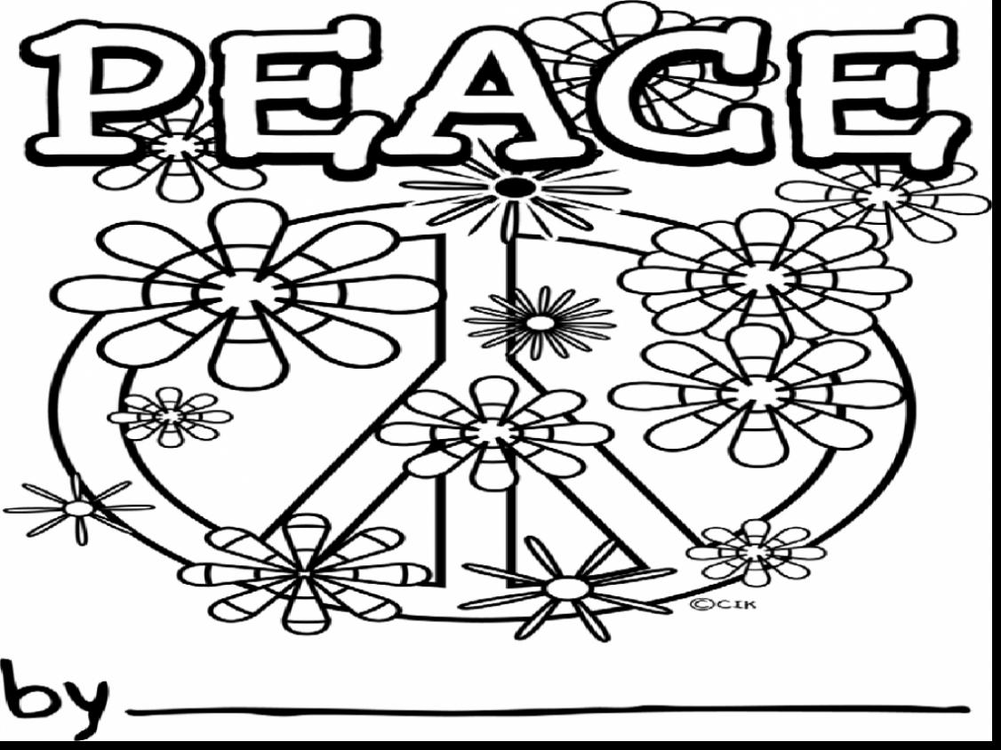 1126x844 Simplified Peace Sign Coloring Pages To Print For Adults Gallery