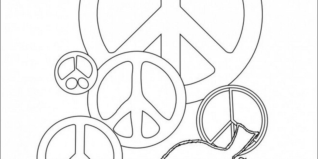 1048x524 Peace Sign Coloring Pages