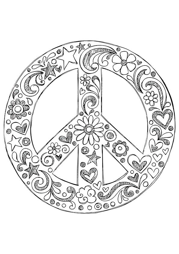 595x842 Free Peace Sign Coloring Pages For Girls Colouring In Snazzy Print