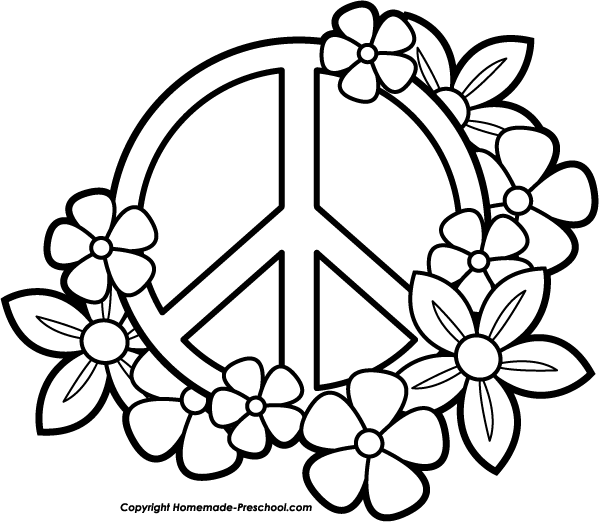 599x522 Free Printable Peace Sign Coloring Pages