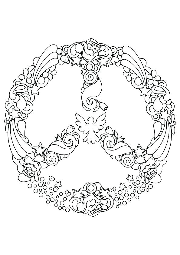 Peace Sign Mandala Coloring Pages At Getdrawings Com Free For