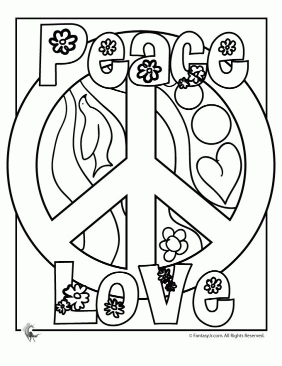 564x730 Free Peace Sign Coloring Page For Older Kids Fun Coloring Pages