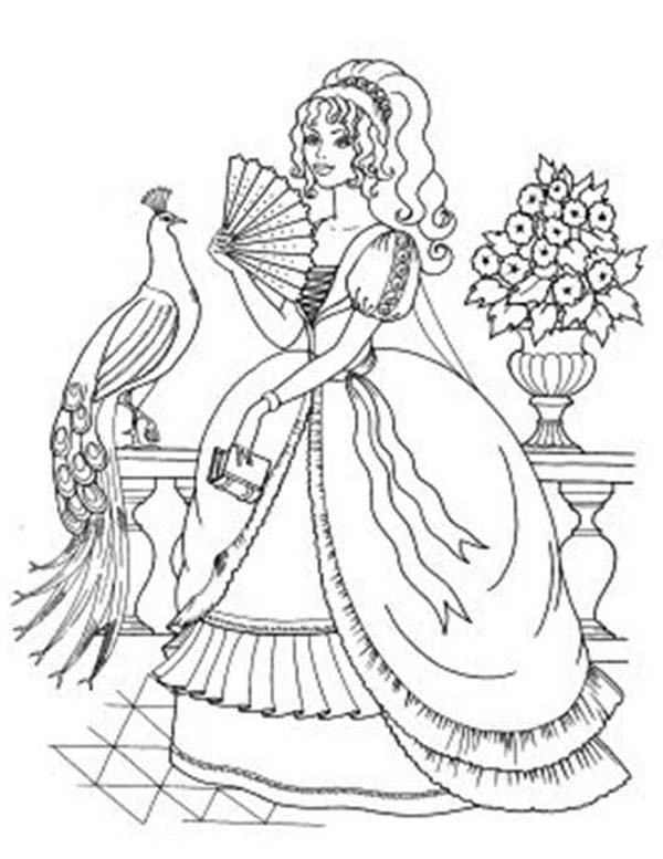 600x777 Princesses Taking Picture With A Peacock Coloring Pages Batch