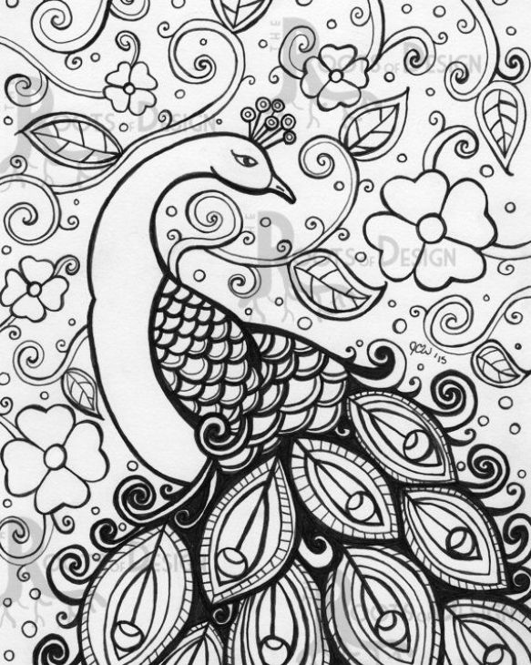583x730 Online Printable Peacock Difficult Pattern Coloring Page For Grown