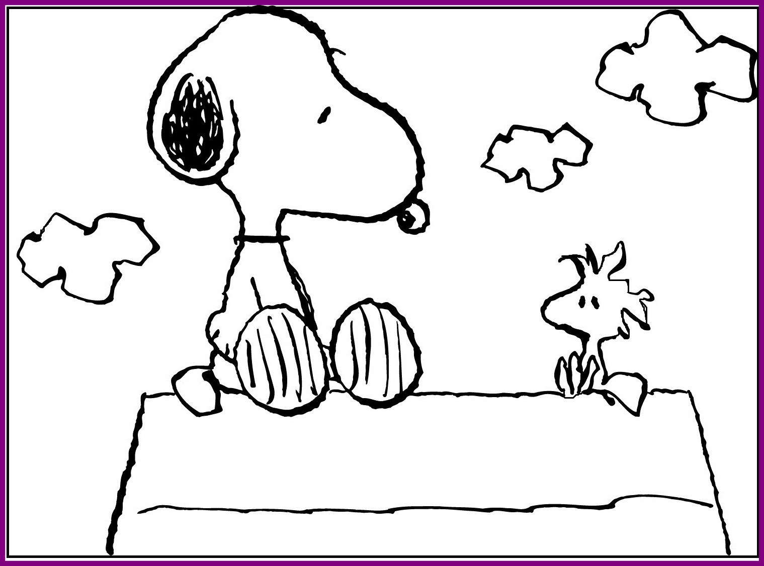 1519x1126 Inspiring Snoopy Sitting With Woodstock Coloring Picture For Kids