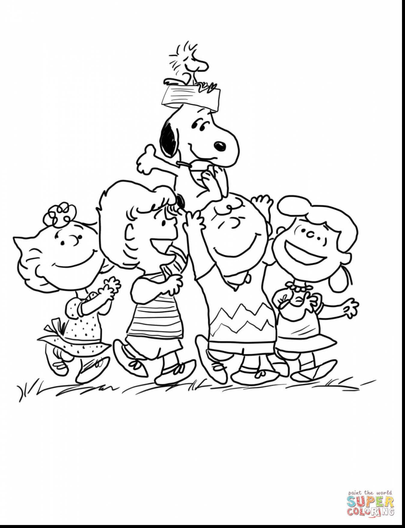 1348x1760 Surprising Charlie Brown Peanuts Gang Coloring Page With Christmas