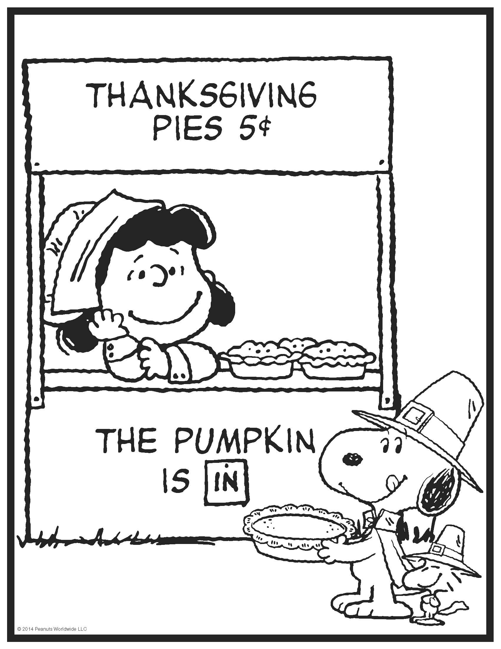 1700x2200 Thanksgiving Peanuts Coloring Page Crafts Peanuts