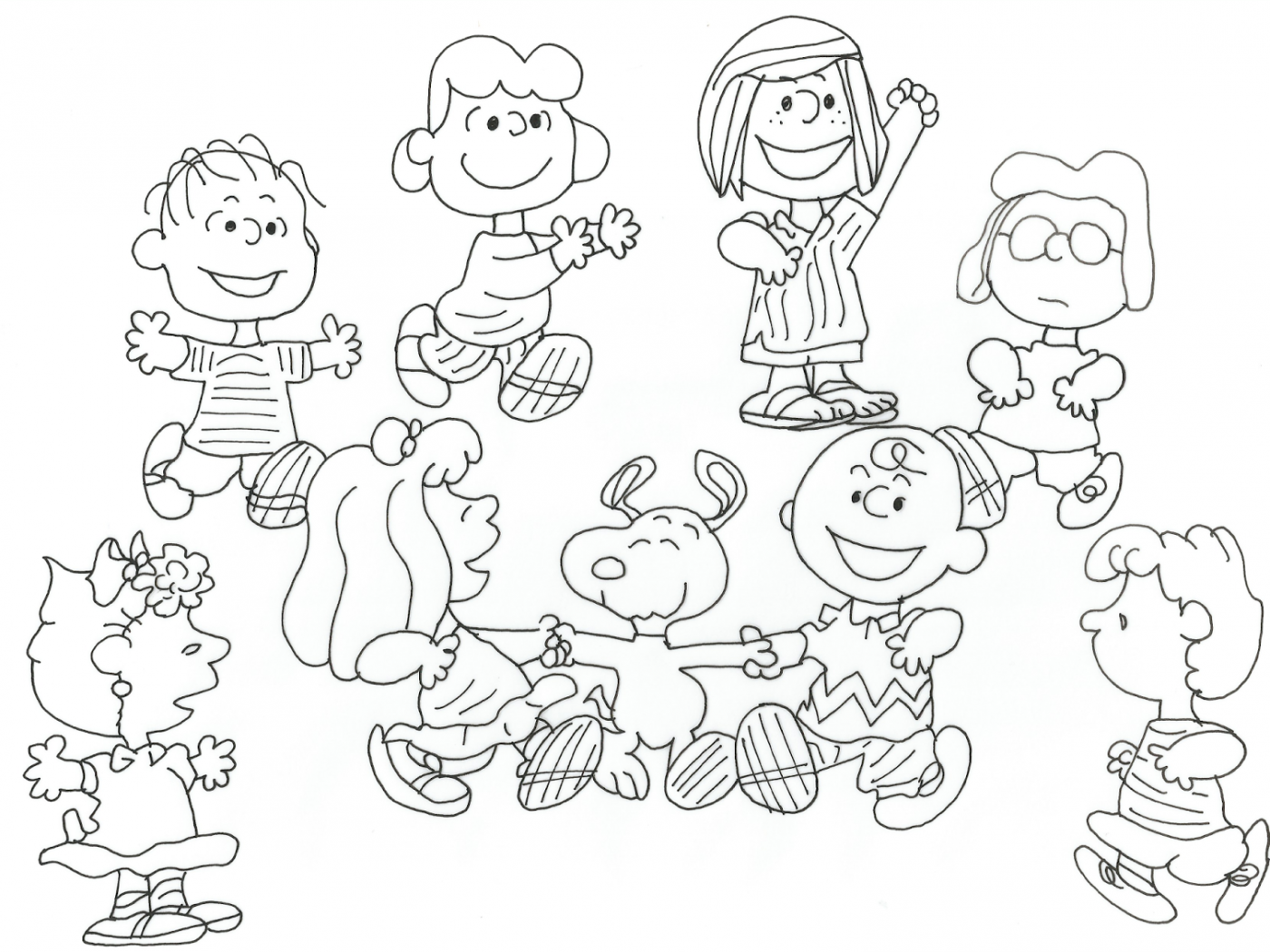 1400x1050 Charlie Brown Coloring Pages Friends Peanuts Clever Christmas Free