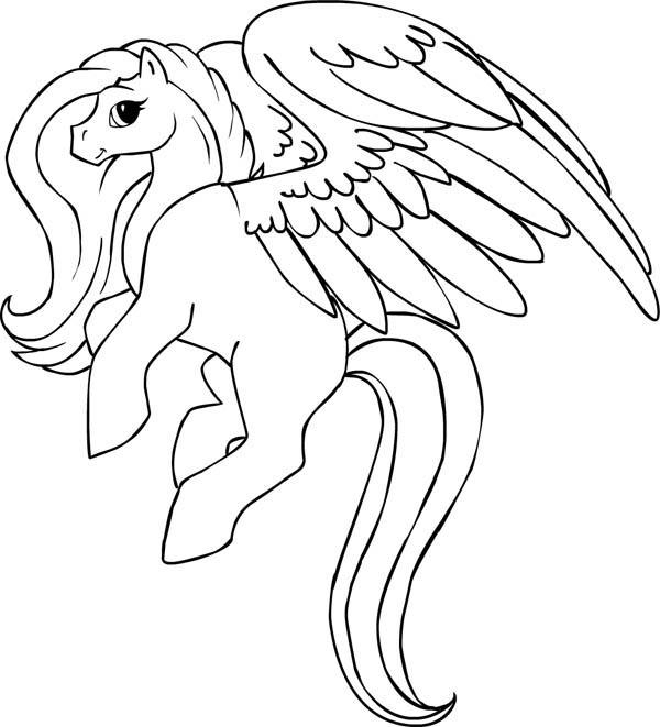 600x661 Beautiful Pegasus Coloring Page