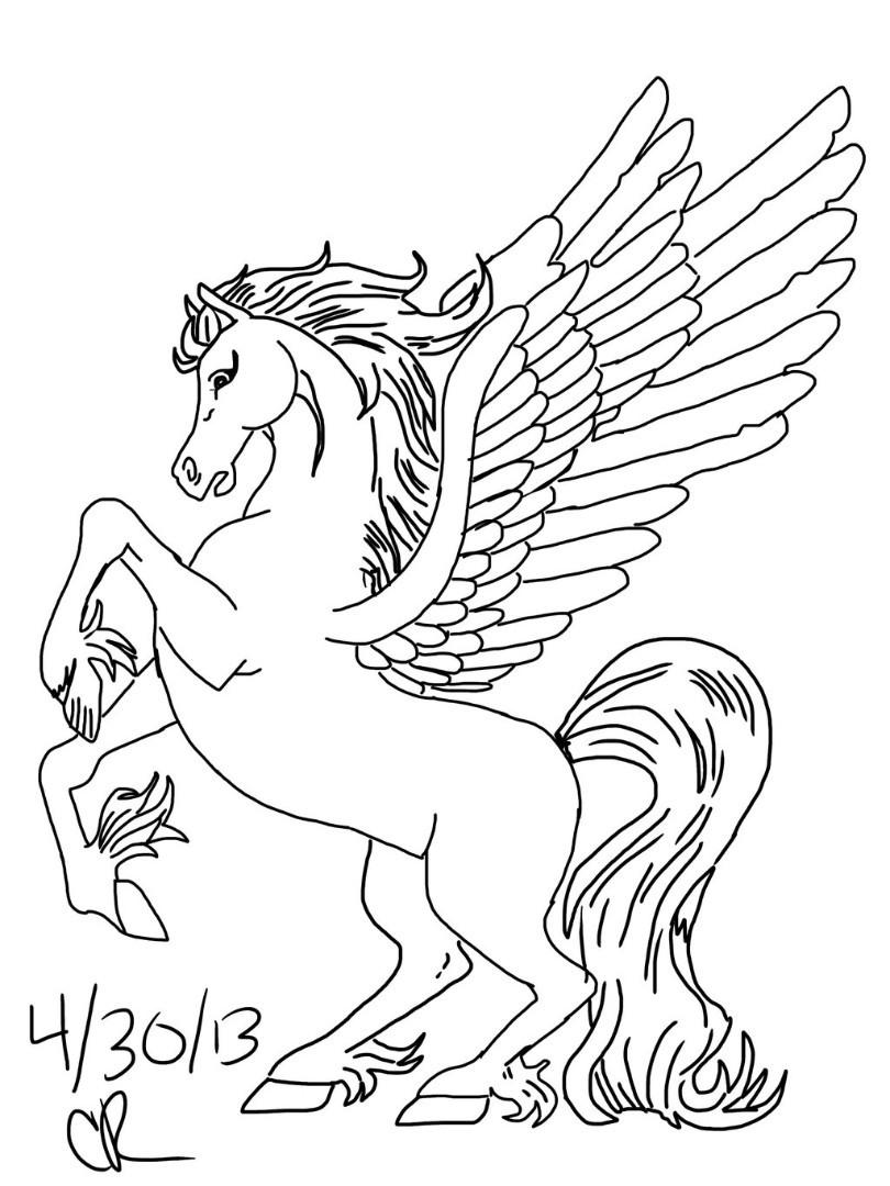 810x1080 Unique Adult Coloring Pages Pegasus Design Printable Sheet