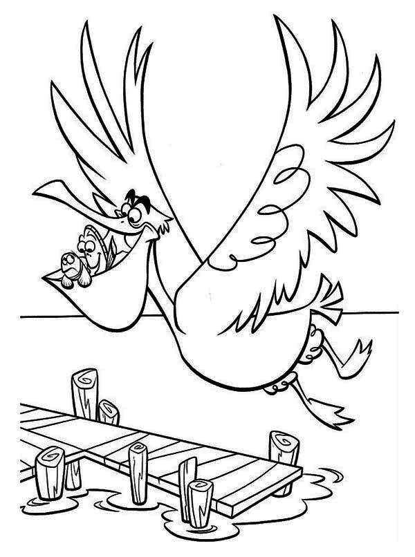 600x806 Dory, Marlin And Nigel The Pelican In Finding Nemo Coloring Page