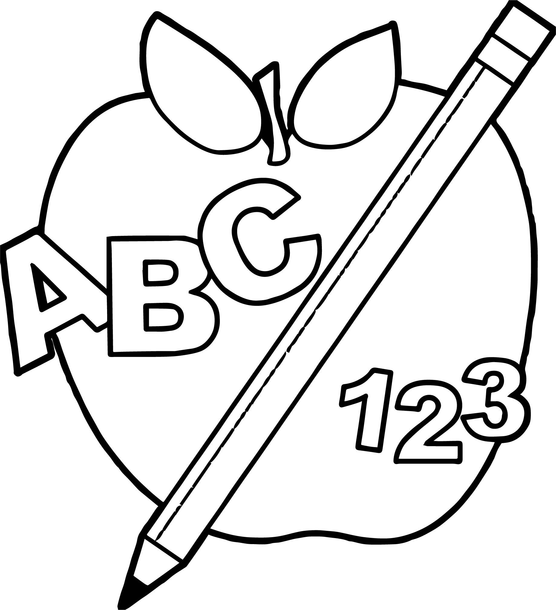 1838x2018 Astonishing School Back To Abc Apple And Pencil Teach Coloring