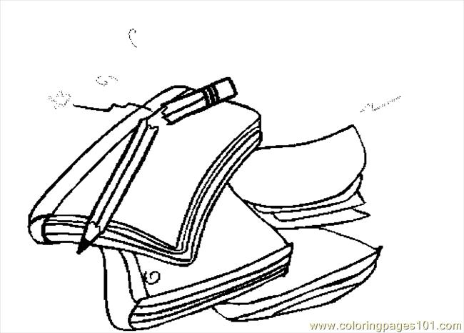 650x466 Notebooks Pencil Coloring Page