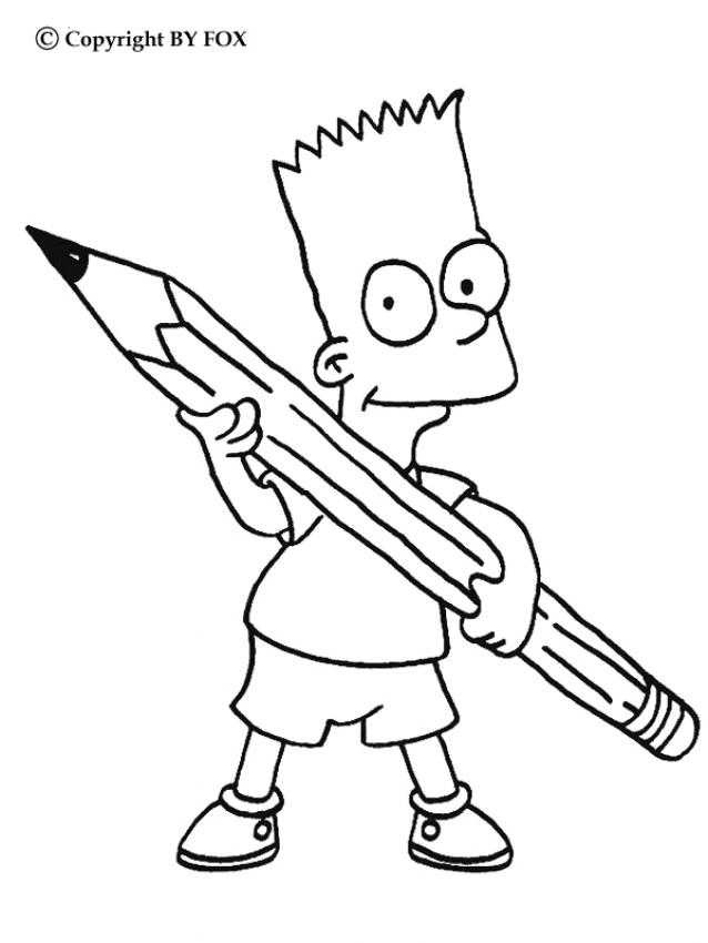 638x850 Bart's Pencil Coloring Pages