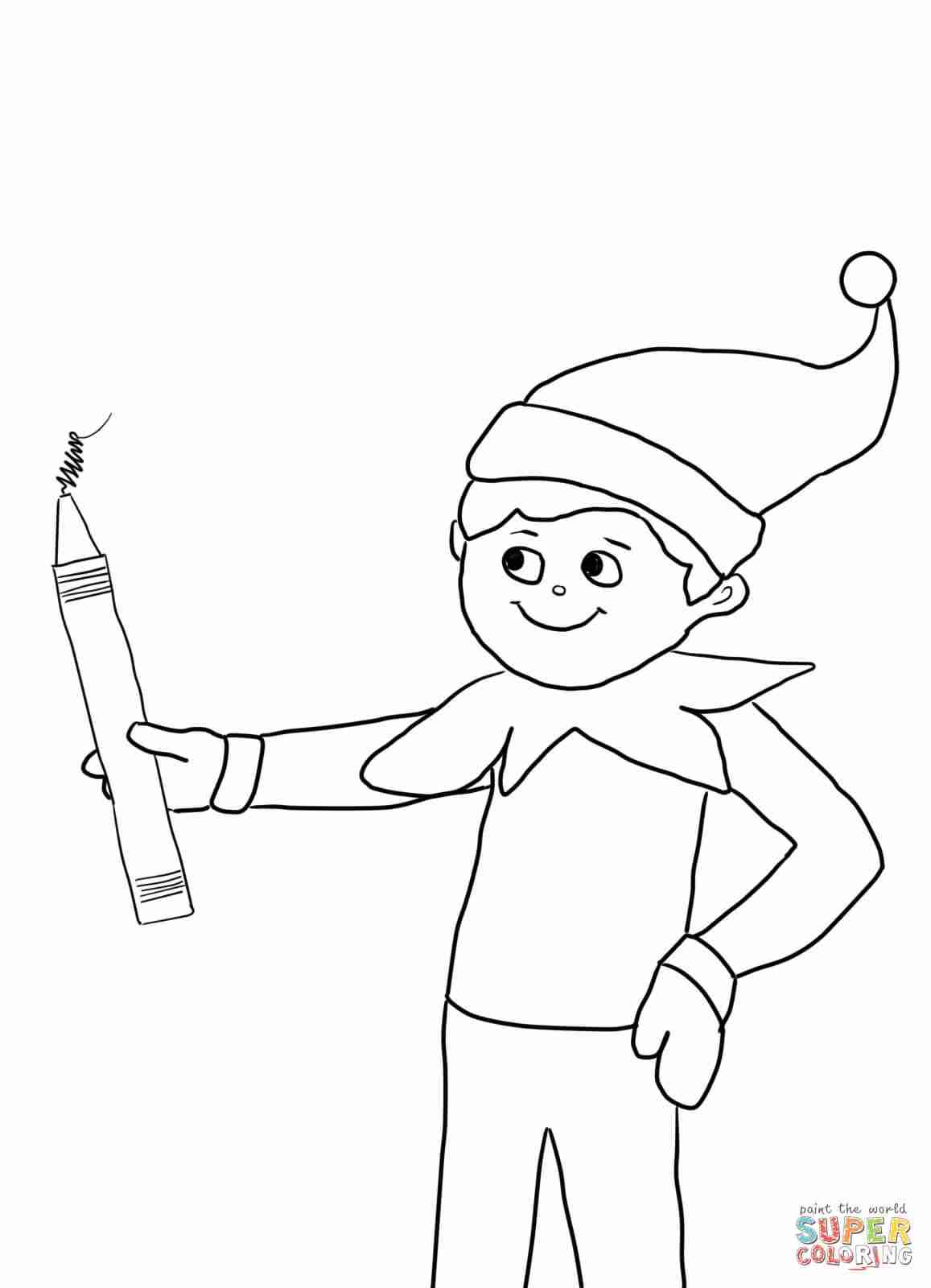 1157x1600 Elf On The Shelf With Pencil Coloring Page Free Printable