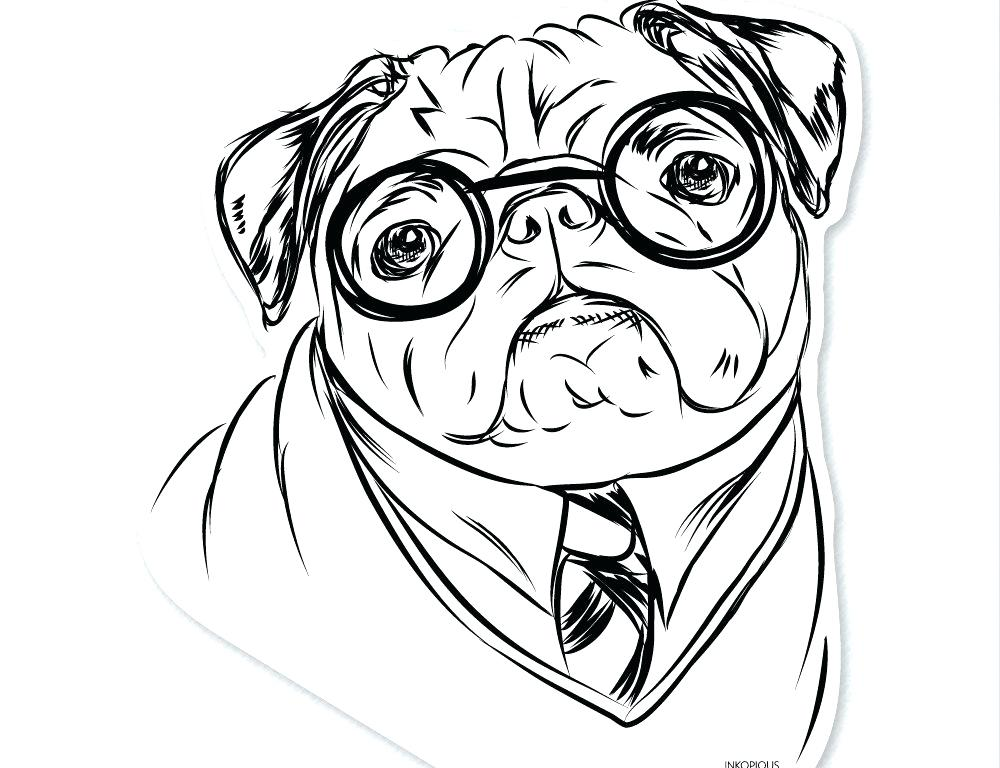 1000x768 Pug Coloring Page Drawn Pug Fabulous Pencil To Coloring Dog
