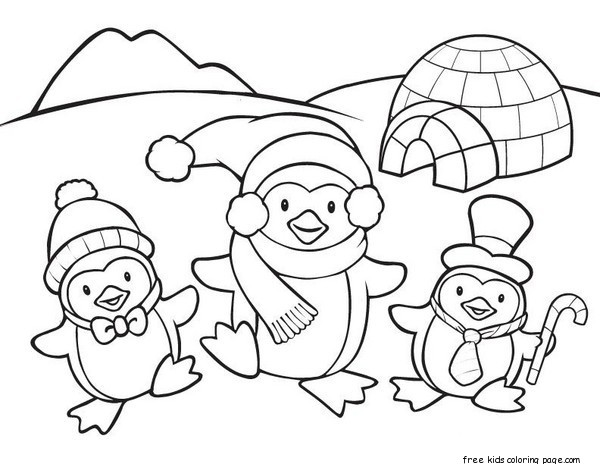 600x464 Free Penguin Coloring Pages