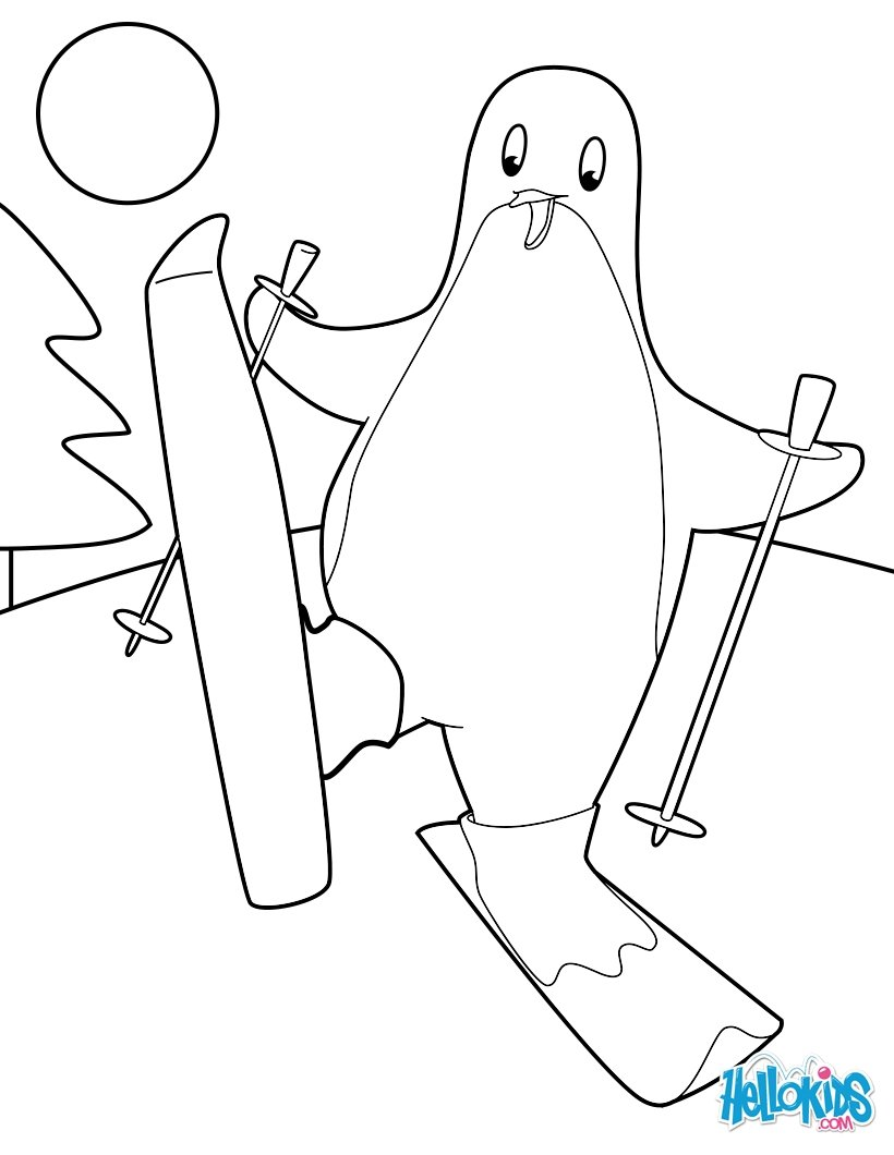 820x1060 Skiing Penguin Coloring Pages