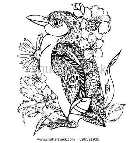 450x470 Hand Drawn Ink Doodle Penguin And Flowers On White Background