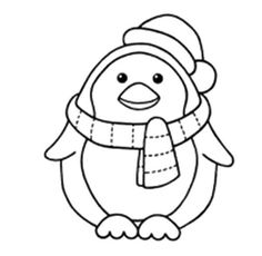 236x230 Penguin With Scarft Coloring Pages