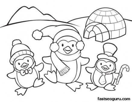 438x338 Printable Coloring Pages Animal Penguins For Kids