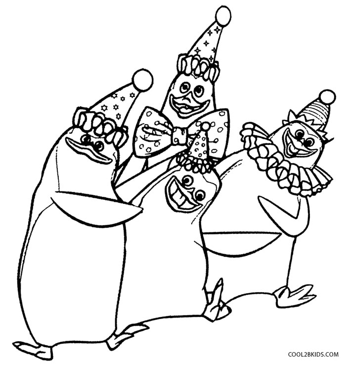 700x740 Madagascar Penguins With Dancing Activity Coloring Pages