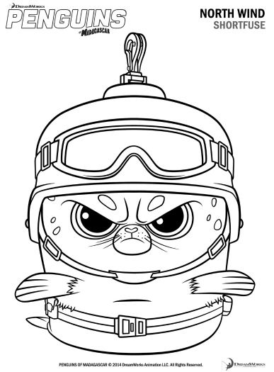 387x525 Free Printable Penguins Of Madagascar Shortfuse Coloring Page
