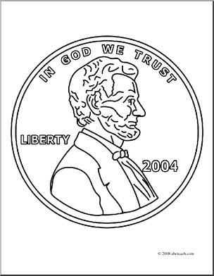 304x392 Clip Art Penny Front