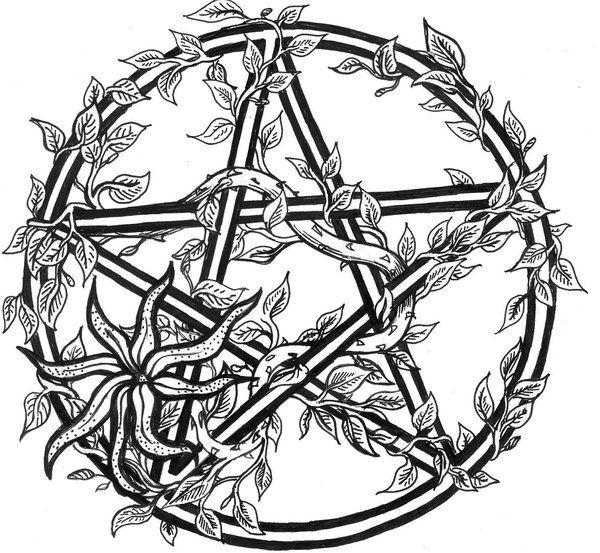 600x553 Tiggi Stones Tattoo Design Overgrown Pentacle Wiccan Pagan