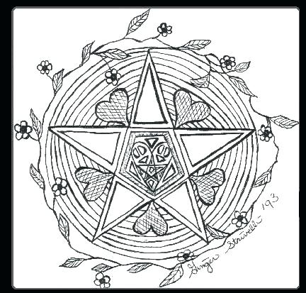 432x413 Wiccan Coloring Pages Coloring Pages Pentagram Coloring Sketch