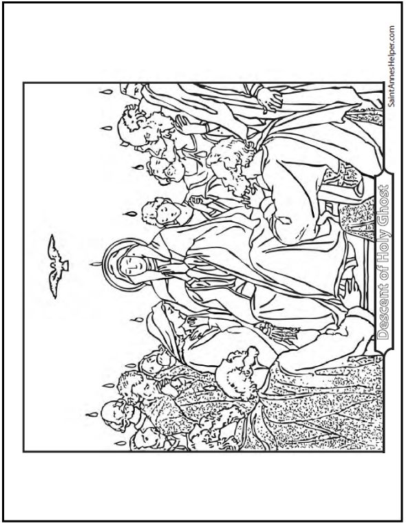 590x762 Pentecost Coloring Page Holy Ghost, Mary, Apostles