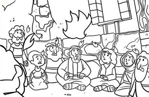 600x392 Commerating The Descent Of Holy Spirit In Pentecost Coloring Page