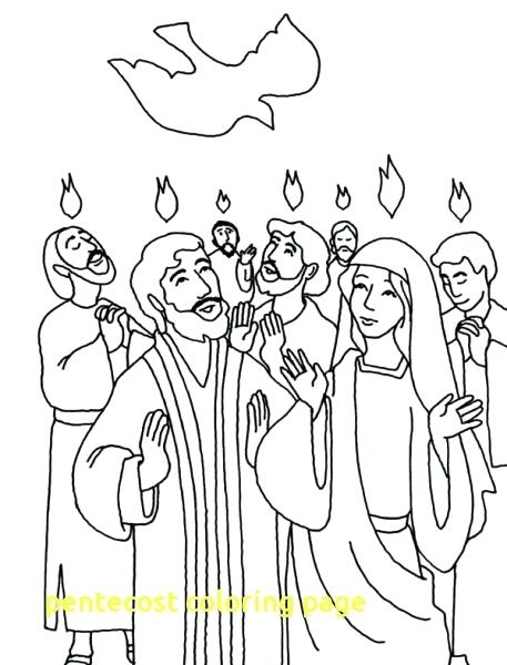 457x600 Pentecost Coloring Page The Descent Of Holy Spirit In Coloring