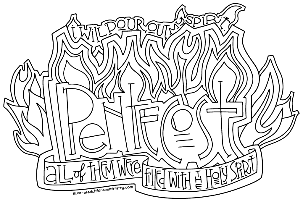 1024x683 Pentecost Coloring Page Poster Illustrated Children's Ministry