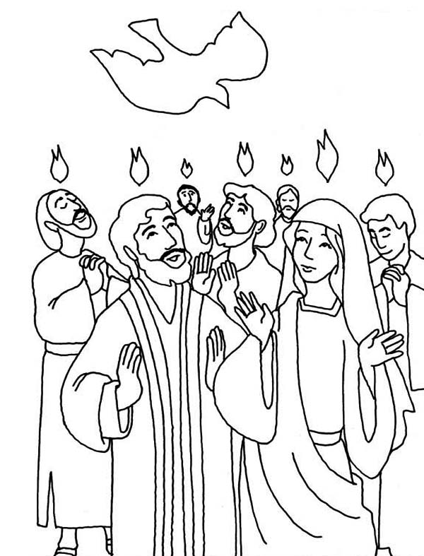 600x787 Everyone Is Praise Pentecost Day Coloring Page Color Luna