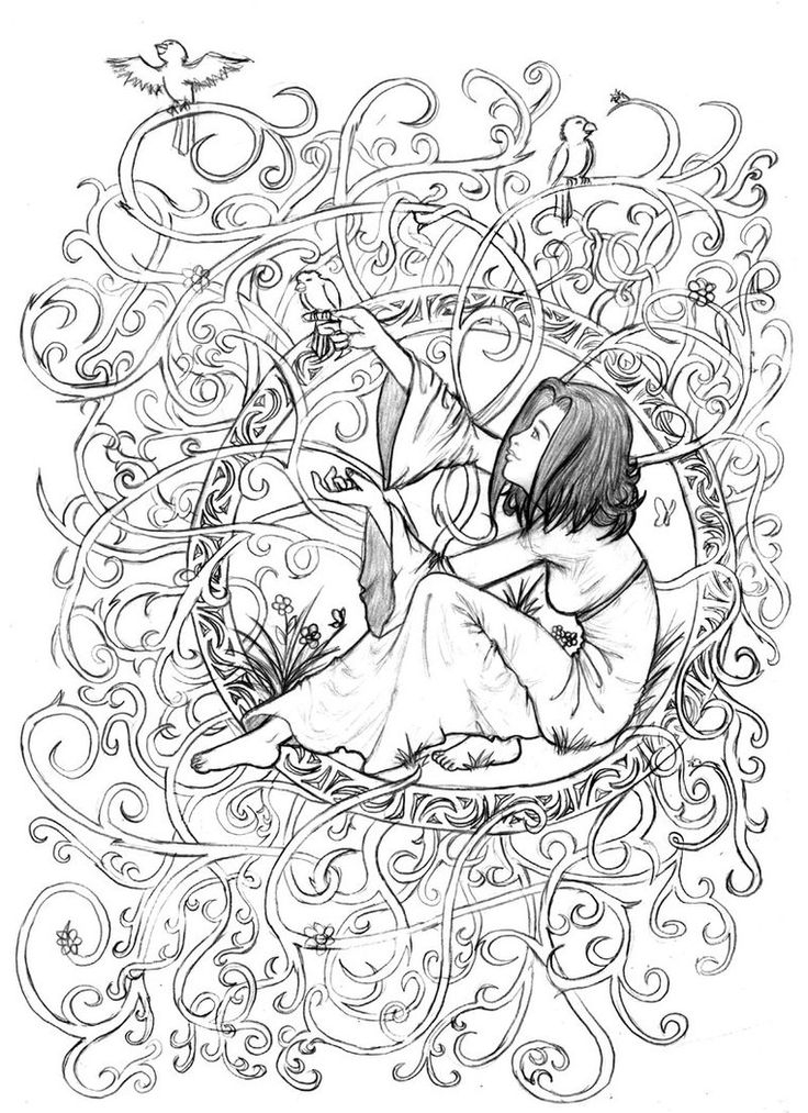 736x1013 Adult Coloring Pages People Scenery Detailed Download