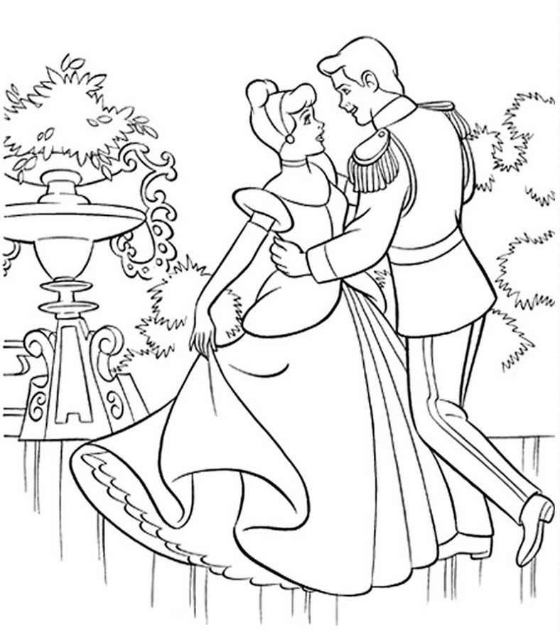 788x890 Cinderella Dancing With Prince In The Garden Coloring Page