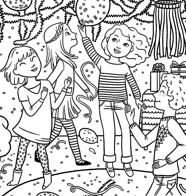600x632 Dancing Together Birthday Party Coloring Pages