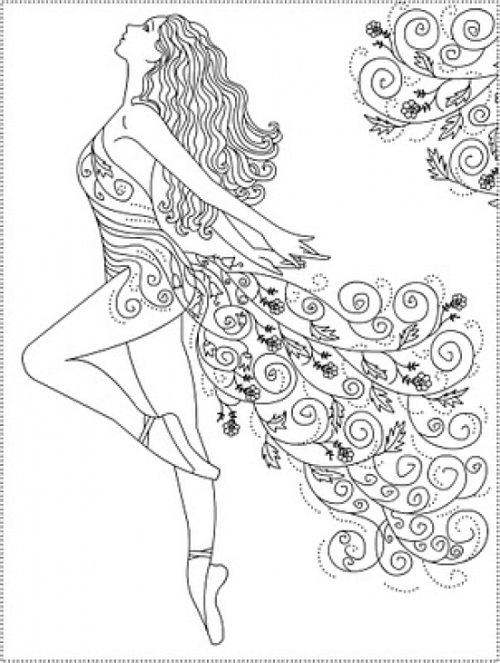 551x730 Abstract Ballerina Doodle Art Coloring Page For Grown Ups