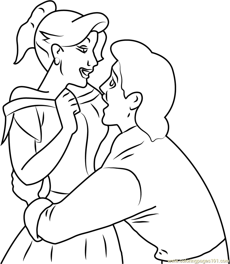 800x915 Gaston And Anastasia In Love Coloring Page