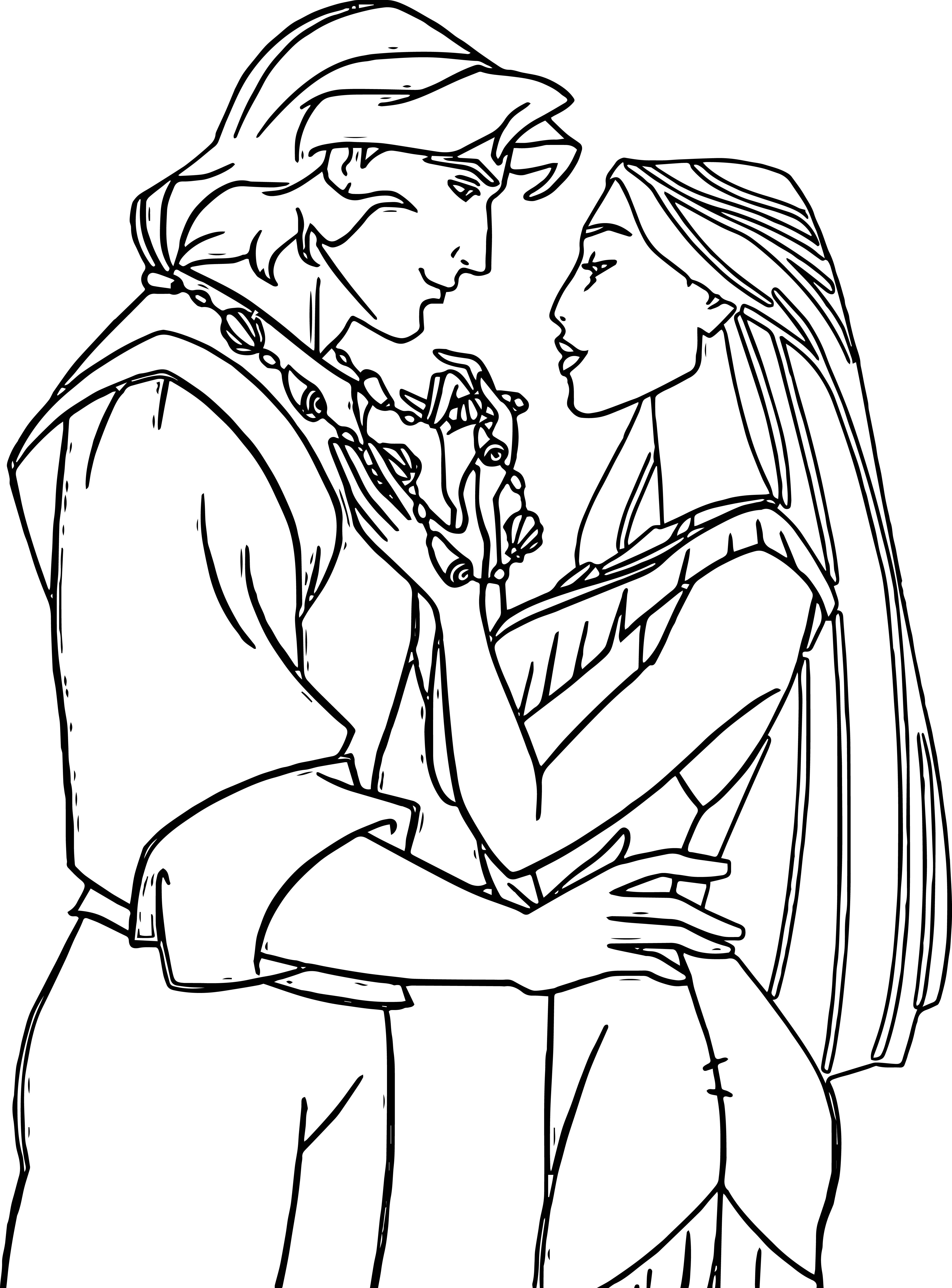 4460x6033 True Love Of Pocahontas And Captain Super Coloring Pages