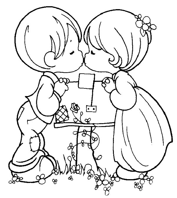 600x672 Two Kids Kissing I Love You Coloring Pages Batch Coloring