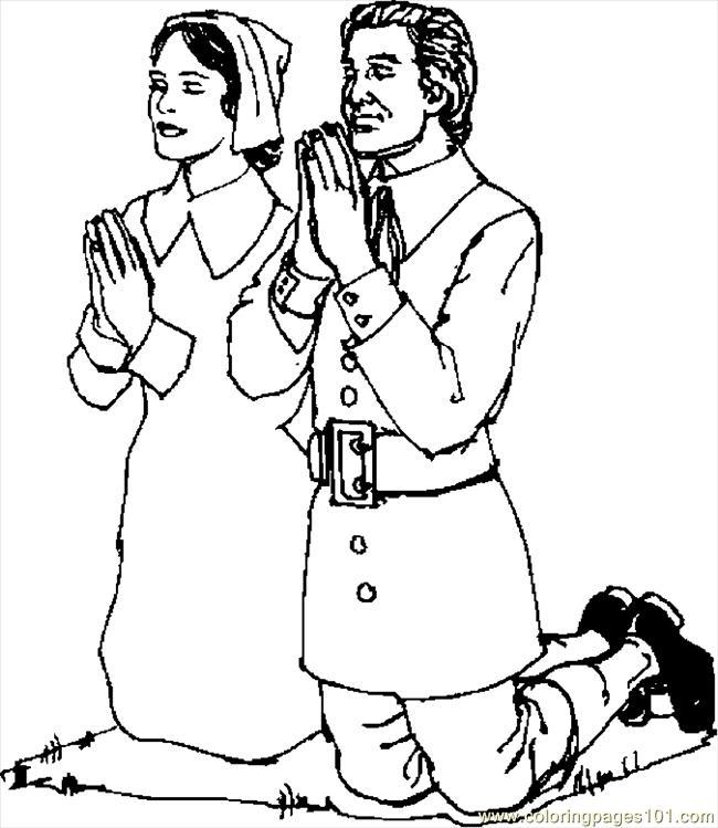 650x749 Pilgrims Praying Coloring Page