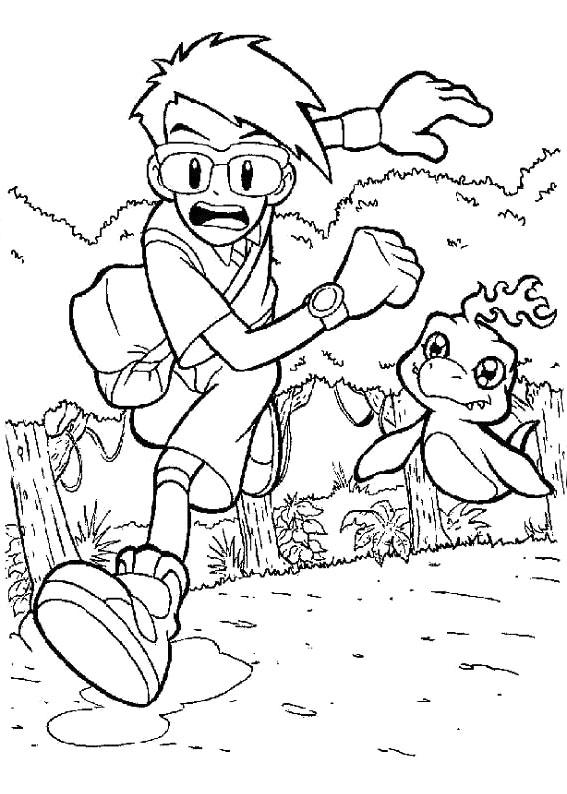 567x794 Joe And Bukamon Running Coloring Page Asterix Coloring Page